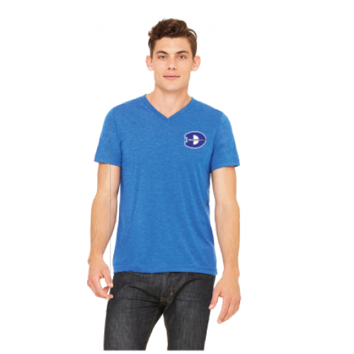 V-Neck T-Shirt-in  Heather Royal WITH EMBROIDERED LEFT CHEST