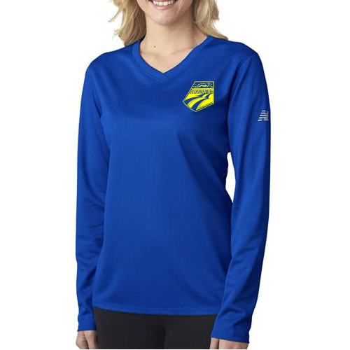 New Balance NDurance® Ladies' Athletic Long-Sleeve V-Neck T-Shirt with Left Chest